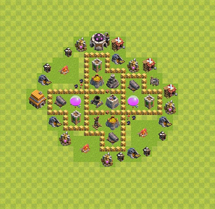 Base plan (layout) for farming TH 5 (Town Hall level 5), TH, th}), variant 30