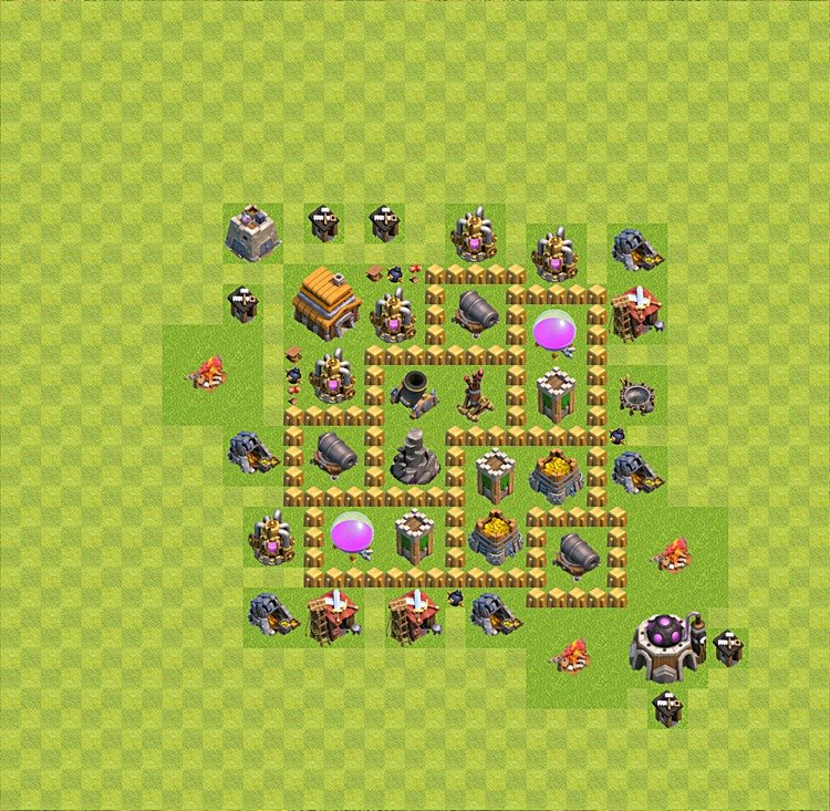 Base plan (layout) for farming TH 5 (Town Hall level 5), TH, th}), variant 4