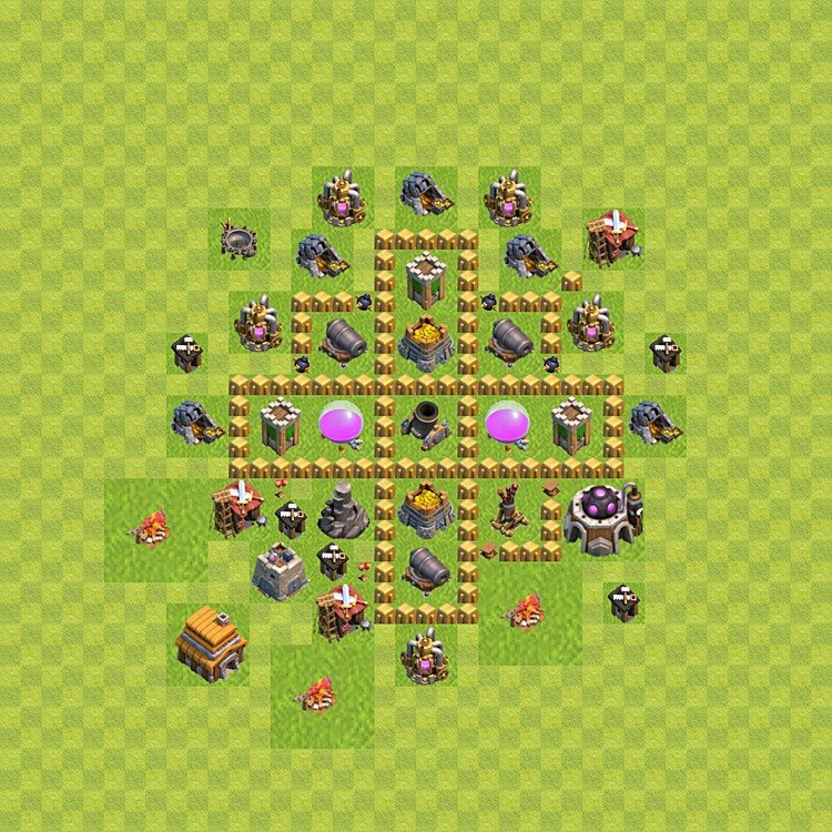 Base plan (layout) for farming TH 5 (Town Hall level 5), TH, th}), variant 42