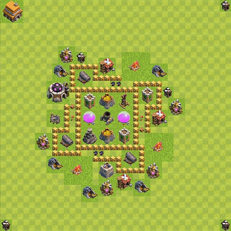 Base plan (layout) for farming TH 5 (Town Hall level 5), TH, th}), variant 45