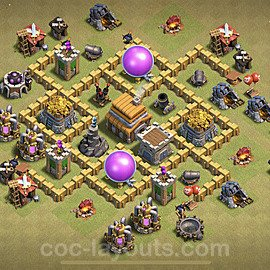 TH5 Anti 2 Stars War Base Plan with Link, Copy Town Hall 5 Design 2020, #7