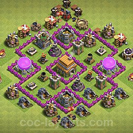 TH6 Anti 2 Stars Base Plan with Link, Copy Town Hall 6 Base Design 2020, #144