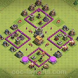 TH6 Anti 3 Stars Base Plan with Link, Copy Town Hall 6 Base Design 2020, #146