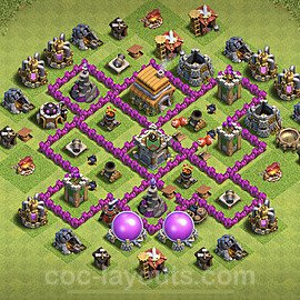 TH6 Trophy Base Plan with Link, Copy Town Hall 6 Base Design 2020, #147