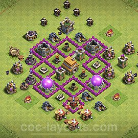 TH6 Trophy Base Plan with Link, Copy Town Hall 6 Base Design 2021, #149