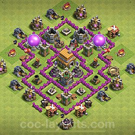 TH6 Anti 3 Stars Base Plan with Link, Copy Town Hall 6 Base Design 2021, #153