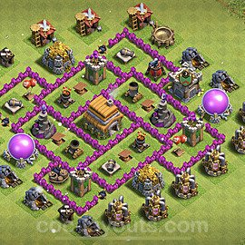 TH6 Anti 3 Stars Base Plan with Link, Copy Town Hall 6 Base Design 2021, #154