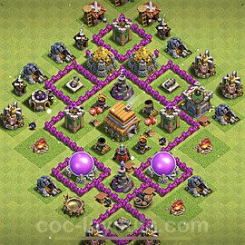 Full Upgrade TH6 Base Plan with Link, Copy Town Hall 6 Max Levels Design 2021, #155