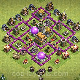 TH6 Anti 2 Stars Base Plan with Link, Copy Town Hall 6 Base Design 2021, #156