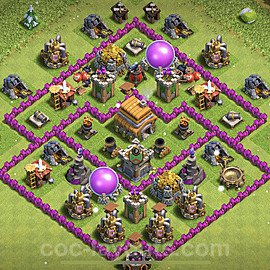 TH6 Anti 2 Stars Base Plan with Link, Copy Town Hall 6 Base Design 2021, #157