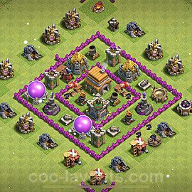 TH6 Anti 3 Stars Base Plan with Link, Copy Town Hall 6 Base Design 2021, #158