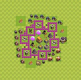 Base plan Town Hall level 6 for trophies (defence) (variant 17)
