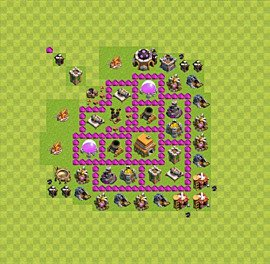 Base plan Town Hall level 6 for trophies (defence) (variant 19)
