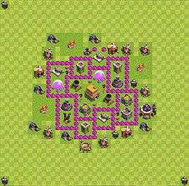 Base plan Town Hall level 6 for trophies (defence) (variant 20)