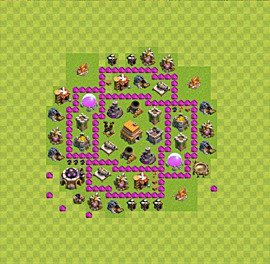 Base plan Town Hall level 6 for trophies (defence) (variant 21)