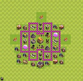 Base plan Town Hall level 6 for trophies (defence) (variant 23)