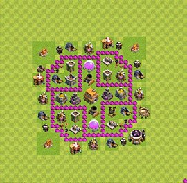 Base plan Town Hall level 6 for trophies (defence) (variant 27)
