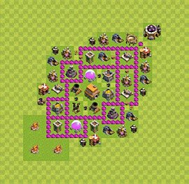 Base plan Town Hall level 6 for trophies (defence) (variant 29)