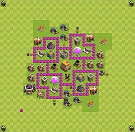 Base plan Town Hall level 6 for trophies (defence) (variant 30)