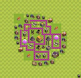 Base plan Town Hall level 6 for trophies (defence) (variant 32)
