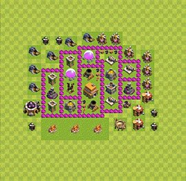 Base plan Town Hall level 6 for trophies (defence) (variant 33)