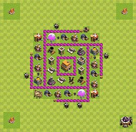Base plan Town Hall level 6 for trophies (defence) (variant 34)