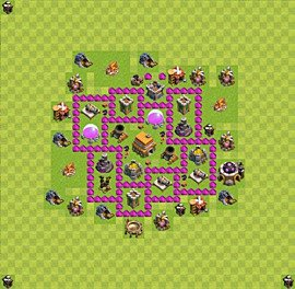 Base plan Town Hall level 6 for trophies (defence) (variant 35)