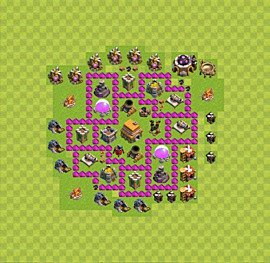 Base plan Town Hall level 6 for trophies (defence) (variant 38)