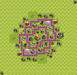 Base plan Town Hall level 6 for trophies (defence) (variant 39)
