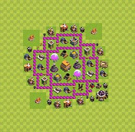 Base plan Town Hall level 6 for trophies (defence) (variant 41)