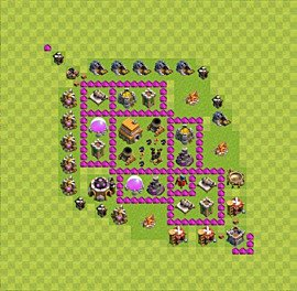 Base plan Town Hall level 6 for trophies (defence) (variant 42)