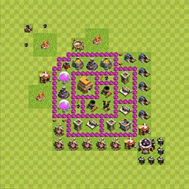 Base plan Town Hall level 6 for trophies (defence) (variant 43)