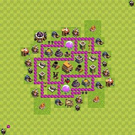 Base plan Town Hall level 6 for trophies (defence) (variant 45)
