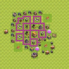 Base plan Town Hall level 6 for trophies (defence) (variant 47)
