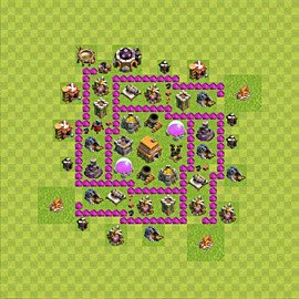 Base plan Town Hall level 6 for trophies (defence) (variant 50)
