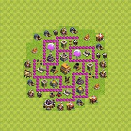 Base plan Town Hall level 6 for trophies (defence) (variant 56)