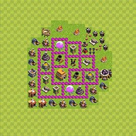 Base plan Town Hall level 6 for trophies (defence) (variant 61)