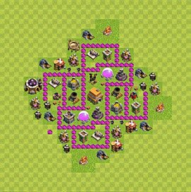 Base plan Town Hall level 6 for trophies (defence) (variant 65)