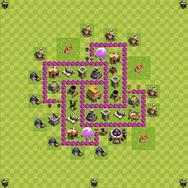 Base plan Town Hall level 6 for trophies (defence) (variant 66)
