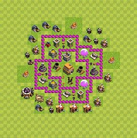 Base plan Town Hall level 6 for trophies (defence) (variant 68)