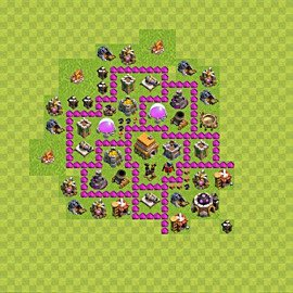 Base plan Town Hall level 6 for trophies (defence) (variant 69)