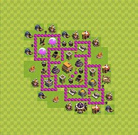 Base plan Town Hall level 6 for trophies (defence) (variant 7)