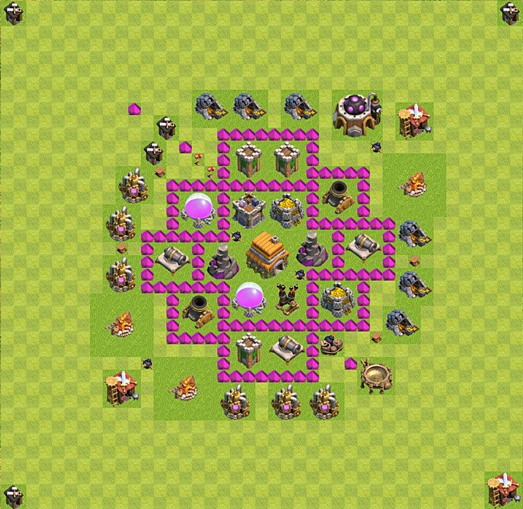 Base plan (layout) for trophies collecting TH  6 (Town Hall level 6, TH 6), variant 1