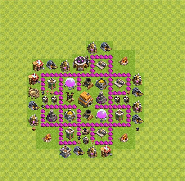 Base plan (layout) for trophies collecting TH  6 (Town Hall level 6, TH 6), variant 11