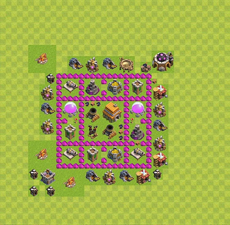 Base plan (layout) for trophies collecting TH  6 (Town Hall level 6, TH 6), variant 14