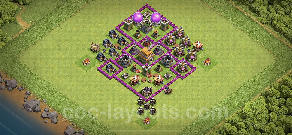 Top TH6 Unbeatable Anti Loot Base Plan with Link, Copy Town Hall 6 Base Design 2020, #150