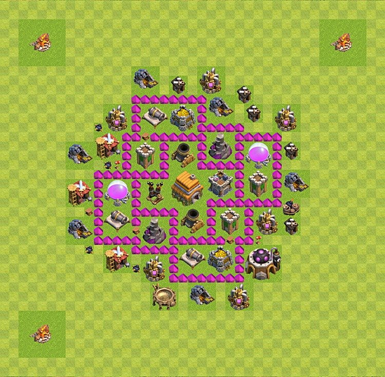 Base plan (layout) for trophies collecting TH  6 (Town Hall level 6, TH 6), variant 16