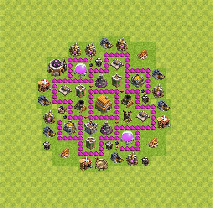 Base plan (layout) for trophies collecting TH  6 (Town Hall level 6, TH 6), variant 18