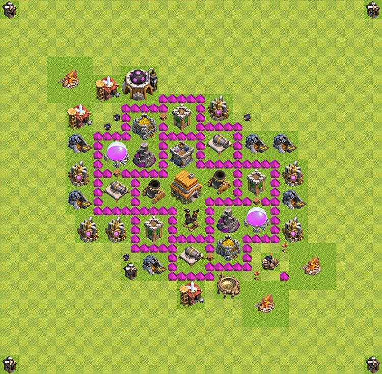 Base plan (layout) for trophies collecting TH  6 (Town Hall level 6, TH 6), variant 2