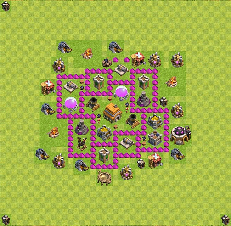 Base plan (layout) for trophies collecting TH  6 (Town Hall level 6, TH 6), variant 20